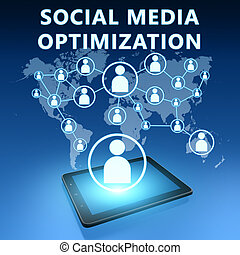 Social Media Optimization illustration with tablet computer...