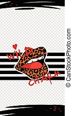Social media or mobile interface with lips, cartoon vector illustration isolated.