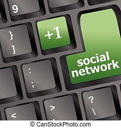 Social media or social network concept: Keyboard button vector illustration