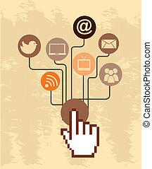 social media over pink  background vector illustration