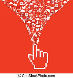 social media over red  background vector illustration