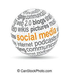 """""""social, media"""", palla, 3d"""