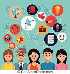 Social media people cartoon