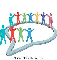 Social media people hold hands inside speech bubble