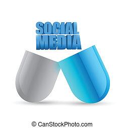 social media pill illustration design