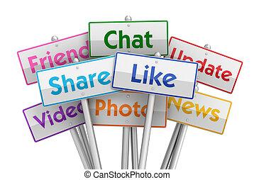 social media placards concept 3d illustration - social media...
