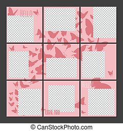 Social media posts puzzle template vector - inspired by instagram design