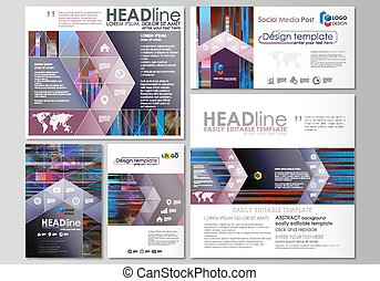 Social media posts set. Business templates. Abstract design vector layouts. Glitched background made of colorful pixel mosaic. Digital decay, signal error, television fail. Trendy glitch backdrop.