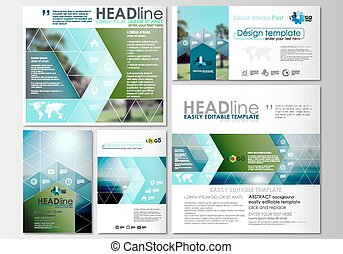 Social media posts set. Business templates. Cover design, abstract flat style travel decoration layouts in popular formats, easy editable vector template, colorful blurred natural landscape.