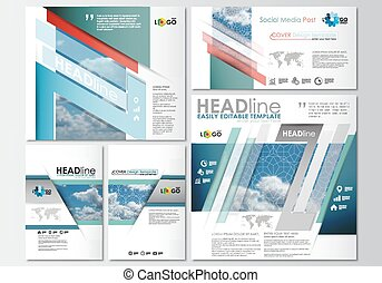 Social media posts set. Business templates. Cover design template, easy editable, abstract blue flat layouts in popular formats, vector illustration