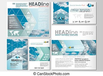 Social media posts set. Business templates. Cover design template, easy editable, abstract flat layouts in popular formats, vector illustration.