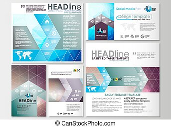 Social media posts set. Business templates. Cover design template, easy editable, flat layouts in popular formats. Abstract triangles, blue triangular background, modern colorful polygonal vector.
