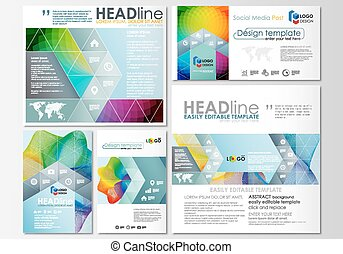 Social media posts set. Business templates. Cover template, easy editable flat layout in popular formats, vector illustration. Colorful design background with abstract shapes and waves, overlap effect