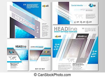 Social media posts set. Business templates. Cover template, easy editable, flat layouts in popular formats. Abstract triangles, blue triangular background, modern colorful polygonal vector.