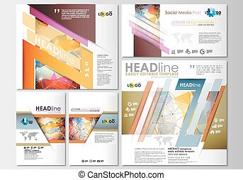 Social media posts set. Business templates. Cover template, easy editable, flat layouts in popular formats. Abstract colorful triangle design vector background with polygonal molecules.