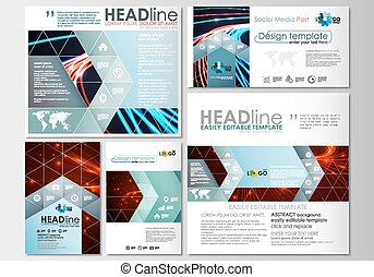 Social media posts set. Business templates. Cover template, easy editable, flat layouts in popular formats. Abstract lines background with color glowing neon streams, motion design vector.