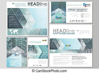 Social media posts set. Business templates. Easy editable abstract flat design template, vector layouts in popular formats. Technology background in geometric style.