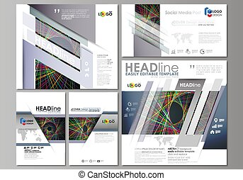 Social media posts set. Business templates. Easy editable abstract flat design template, vector layouts in popular formats. Bright color lines, colorful beautiful background. Perfect decoration.