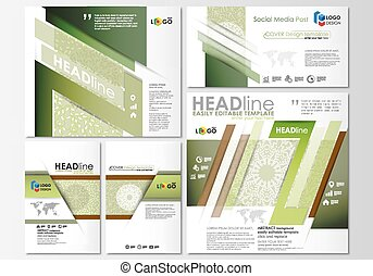 Social media posts set. Business templates. Flat design template, abstract layouts. Green color background with leaves. Spa concept in linear style. Vector decoration for beauty industry.