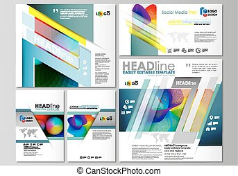 Social media posts set. Business templates. Flat style template, vector layouts in popular formats. Colorful design with overlapping geometric shapes and waves forming abstract beautiful background.