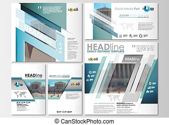 Social media posts set. Cover design template, easy editable, flat layouts in popular formats. Abstract business background, blurred image, urban landscape, modern stylish vector templates.