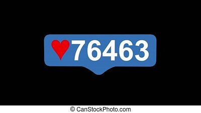 Social media red heart counter, shows likes over time on black background. Tap Like Button Animated 4K. 3D render.