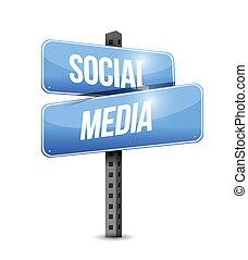 social media road sign illustration design over a white ...
