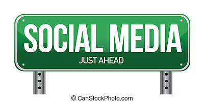 social media road sign illustration over a white background
