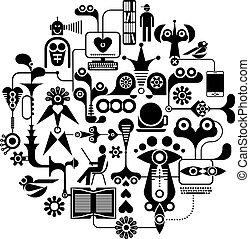 Social Media - round vector illustration - Social Media...
