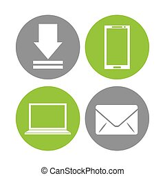 social media set flat icons