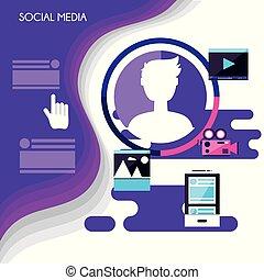 social media set icons