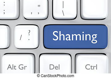 social media shaming button on a ke - 3D render illustration...