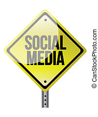 Social media sign illustration design over a white...