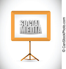 social media sign on a white board.
