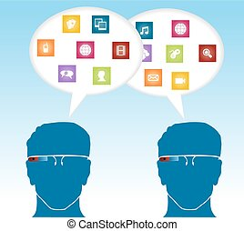 Social media smart glasses concept. People connexion with speech bubble multimedia icons. EPS10 vector file organized in layers for easy editing.