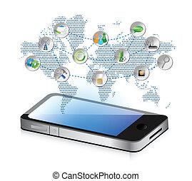 social media smartphone illustration design concept graphic