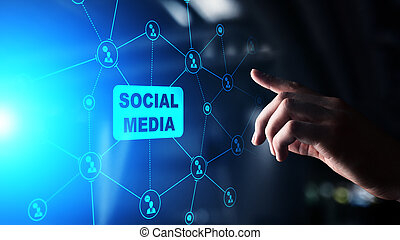 Social media, SMM, Marketing strategy and advertising concept on virtual screen