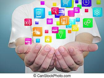 Social media, social network concept.