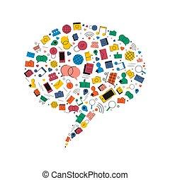 Social media speech bubble chat concept icons