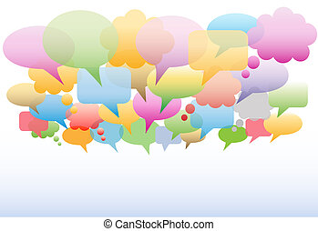 Social media speech bubbles gradient colors background