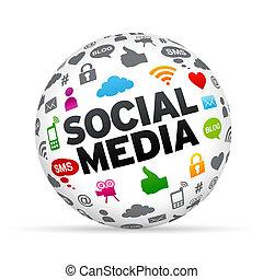Social Media Sphere - 3D Social media sphere isoldated on...