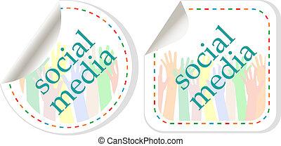 Social media sticker set with hands