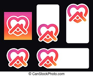 Social media stickers with heart and home icon.