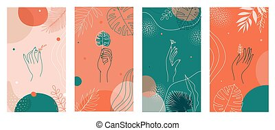 Social media stories set, abstract modern backgrounds with colorful combination of shapes,tropical palm, hands icons.