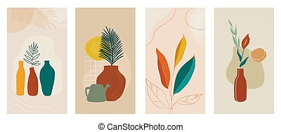 Social media stories set of abstract modern backgrounds with plants in pot.