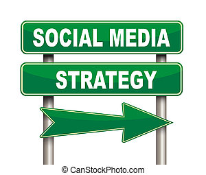 Social media strategy green road sign