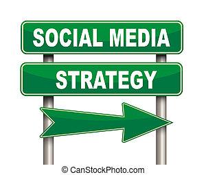 Social media strategy green road sign