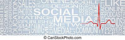 social, media, stressa, concept., social, knyter kontakt, böjelse, concept., social, media, feedback.