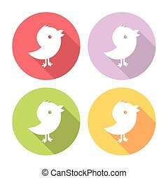Social Media Stylized Bird Flat Icons Set