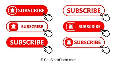Social media subscription button. Subscribe to the video channel, blog and newsletter. Red button with hand cursor for subscription. Flat style. Vector